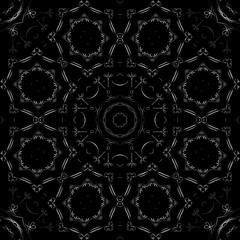 Art Metal Seamless Symmetric Pattern On Black Background Vector