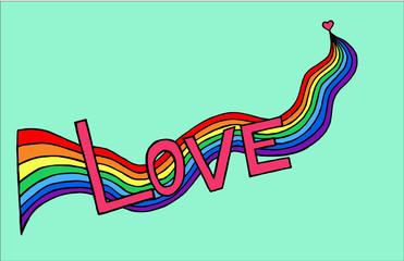 heart birth love with rainbow. Hand-drawn/ Vector illustration