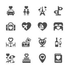 valentine and honeymoon icon set, vector eps10