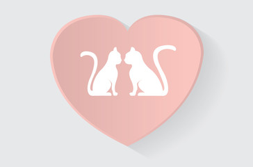 Modern realistic heart with cats
