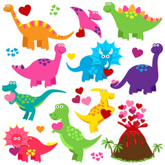 Vector Set of Valentine's Day or Love Themed Dinosaurs