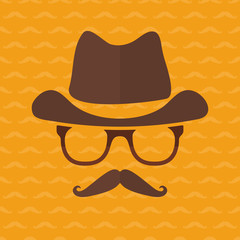 Hipster face silhouette in flat style