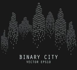Binary code in form of futuristic city, vector