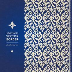 Decorative vector seamless border in Victorian style.