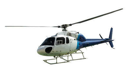 White helicopter with working propeller