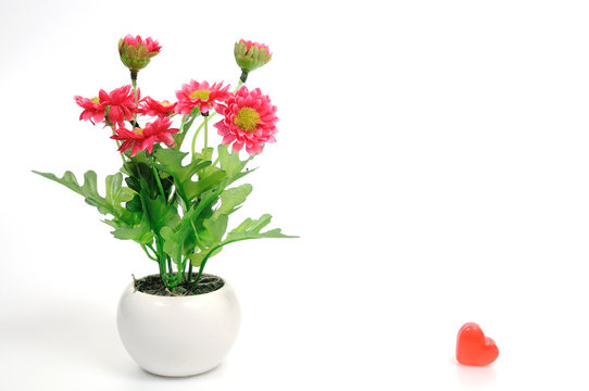 Red flowers in white flower pot with heart, artificially
