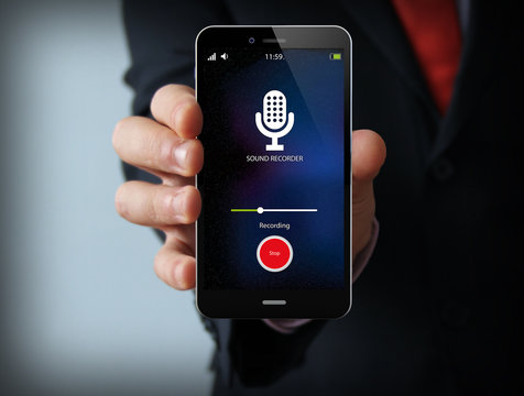 businessman with sound recorder smartphone
