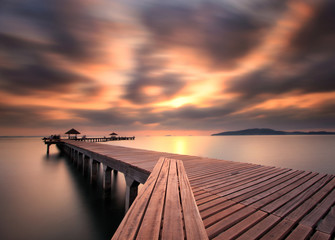 The long bridge over the sea,Thailand