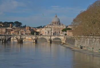 Foto op Canvas Rome Saint Peter's Basilica, view from river Tiber, Rome