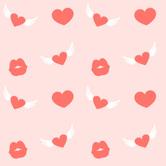Valentine's Day Hearts Background, Vector Seamless Pattern