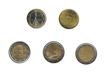 Italy, five euro  coins isolated over white