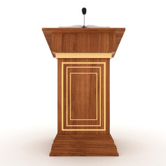 Wooden Rostrum Stand with Microphone on white