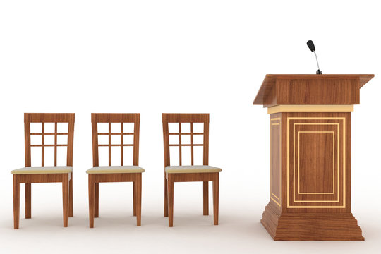 Wooden Rostrum Stand with Microphone and three chairs