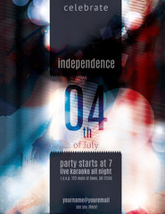 Modern 4th of July grunge flyer template