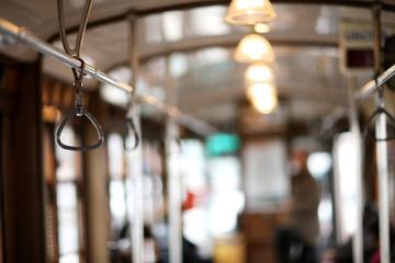 Bus hand-rail for standing passengers