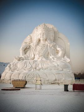 Snow sculptures Buddha