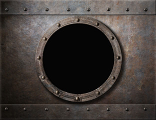 Wall Mural - submarine armoured porthole or window metal background