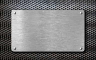 Wall Mural - brushed steel metal plate background with rivets