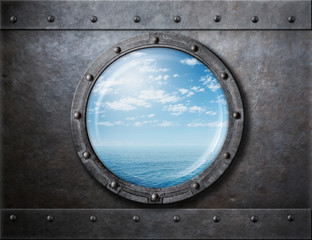 Printed roller blinds Ship old ship rusty porthole or window with sea and horizon behind