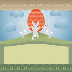 Cute easter greeting card with huge egg and bunnies.