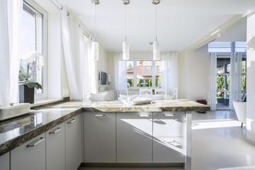 Interior of bright kitchen