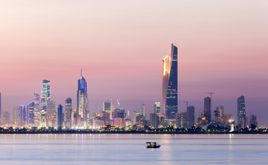 Poster Midden Oosten Skyline of Kuwait city at night, Middle East