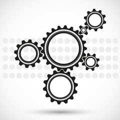 gears on a gray background with spots, vector illustration