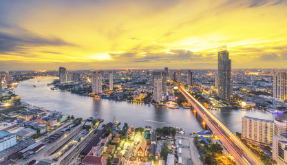 Wall Murals Bangkok Landscape of River in Bangkok city in night time with bird view.