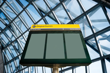 Wall Mural - Airport Departure and Arrival sign at Heathrow, London