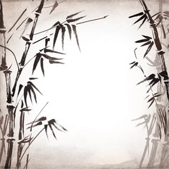 bamboo painted on textural grunge background. Vector
