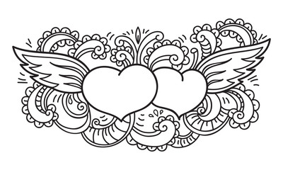Doodle on Valentine's Day. Isolated template. Vector