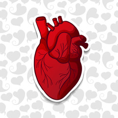 Drawing the human heart on background pattern of cartoon hearts