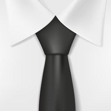 white shirt and black tie
