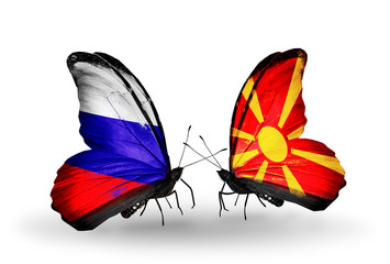 Two butterflies with flags Russia and Macedonia