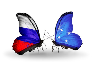 Two butterflies with flags Russia and Micronesia