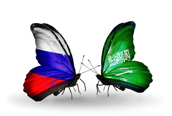 Two butterflies with flags Russia and Saudi Arabia