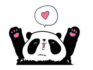 Fotoväggar - card for valentine's day. panda.