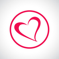 Heart icon. Pink flat symbol in a circle.