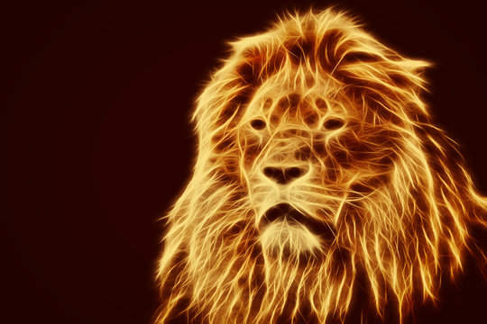 Abstract, artistic lion portrait. Fire flames fur