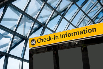Wall Mural - Check in, Airport Departure & Arrival information sign
