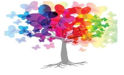 rainbow abstract tree illustration