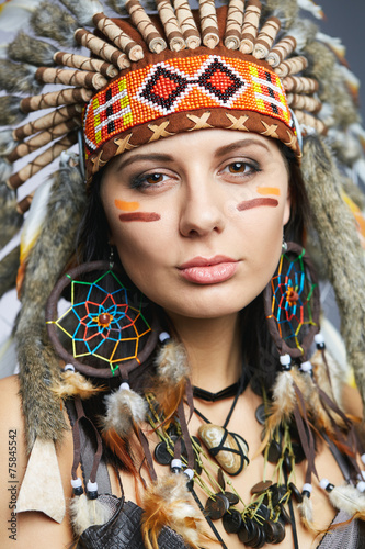 "Native American Girl Headdress ""Girl wearing Nat..."
