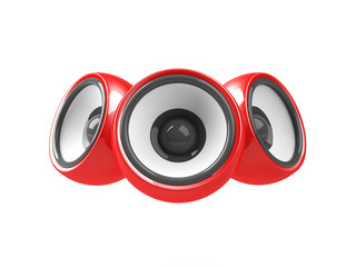 red audio system isolated on the white background