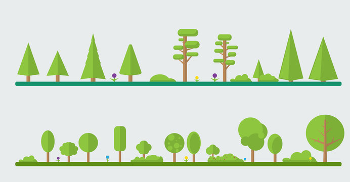 Collection of different flat trees