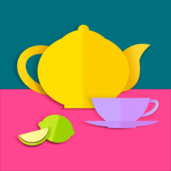 Card with teapot, cup and lemon