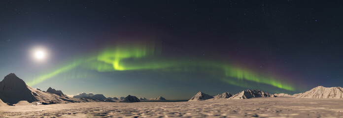 PANORAMA - Northern Lights - Arctic landscape