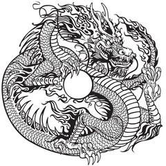 dragon holding pearl black white