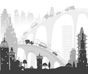 City background with cars and bridges