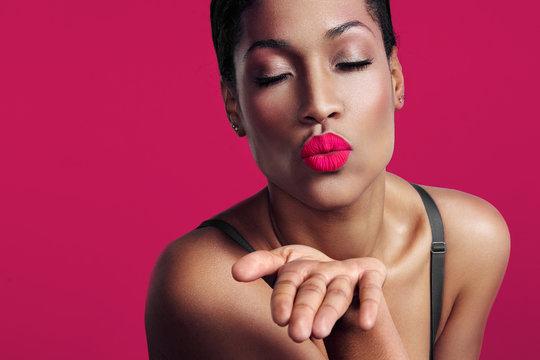 closeup portrait, woman sending kiss