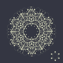 Mandala tribal design. Outlined shape inspired by tribal indian